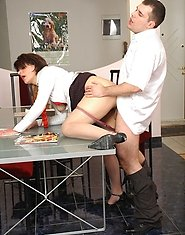 Frisky milf in luxury hose slapping her horny co-worker before hot fucking