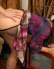 Kickass mommy in silky pantyhose going absolutely wild on a rock-hard cock