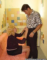 Blonde plump mature teacher sucks off her colleague